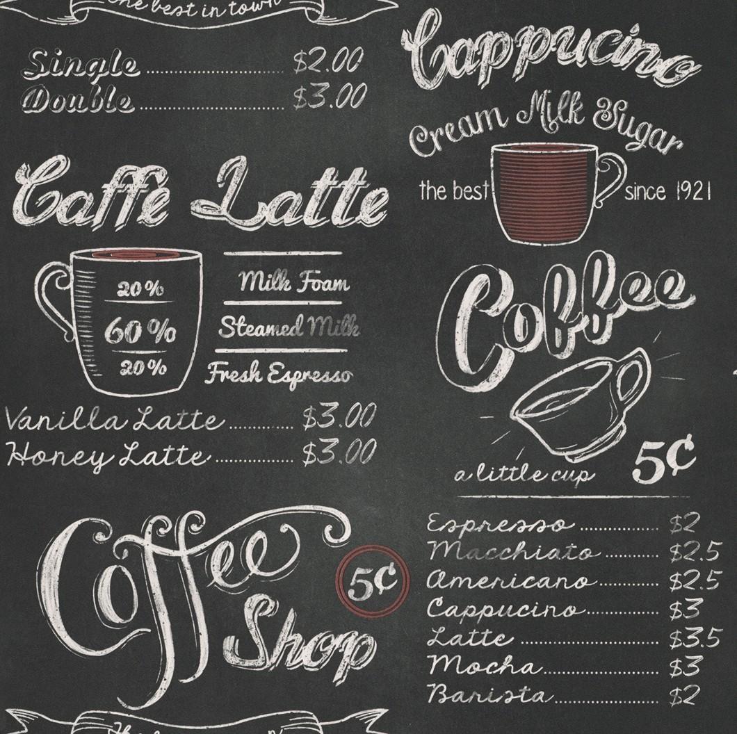 Wallpaper kitchen vintage coffee rasch 234602 - Tapete cappuccino ...