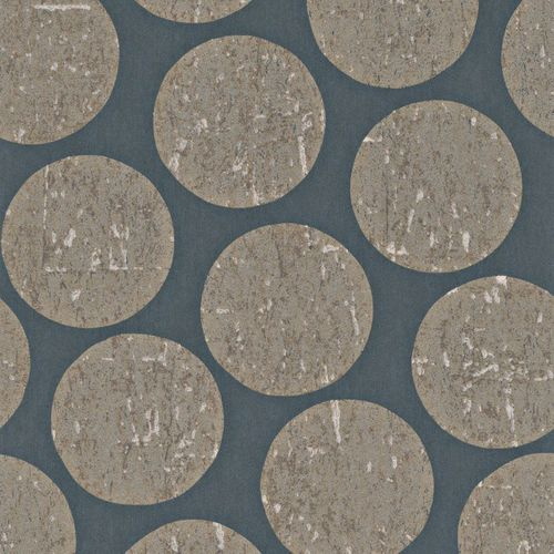 Wallpaper blue brown circle Rasch Textil 226644
