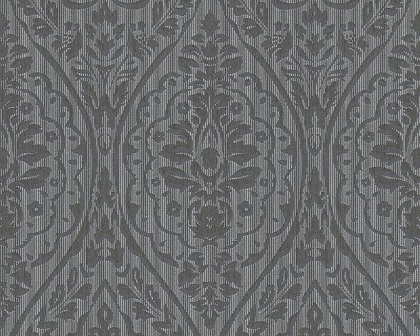 Wallpaper black grey ornament Tessuto 96195-7