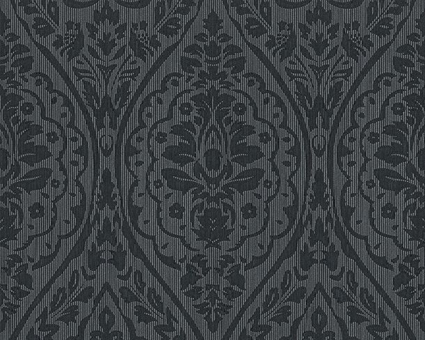 Wallpaper black grey ornament Tessuto 96195-9