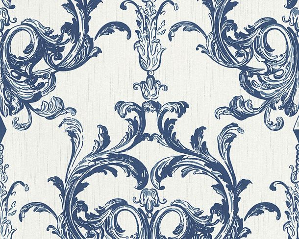 Wallpaper white blue ornament Tessuto 96196-4
