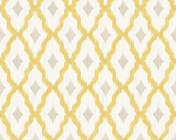Wallpaper yellow white squared Tessuto 96197-3