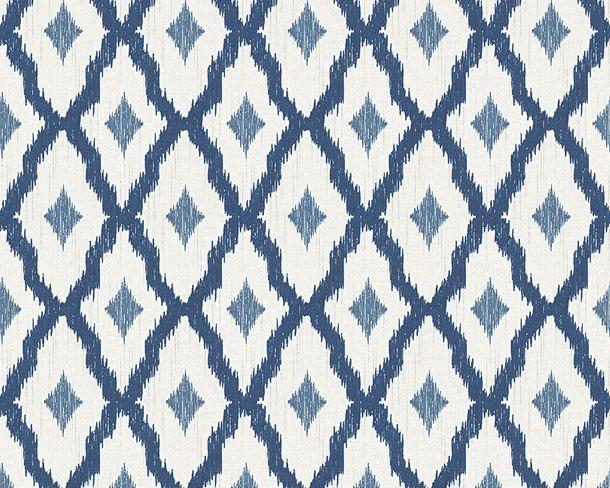 Wallpaper white blue squared Tessuto 96197-4 online kaufen