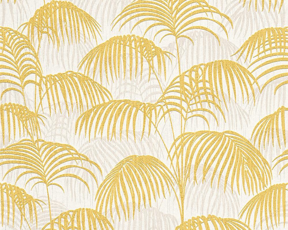 Wallpaper yellow white nature tessuto 96198 2 for Tapete gelb