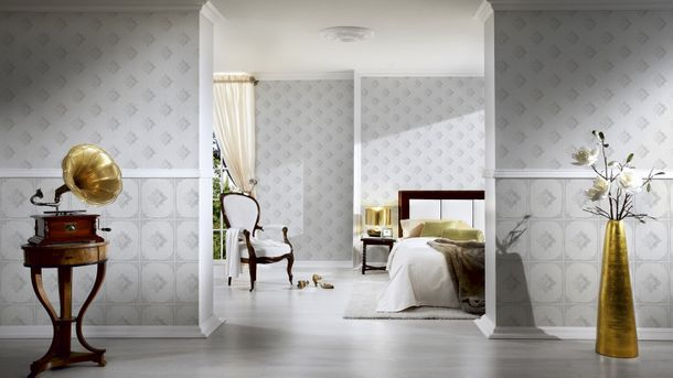 Wallpaper white grey ornament Tessuto 96200-1 online kaufen