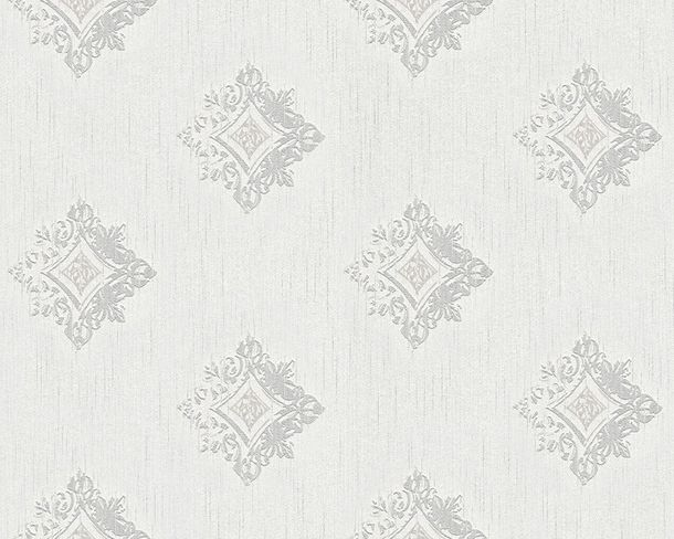 Wallpaper white grey ornament Tessuto 96200-1