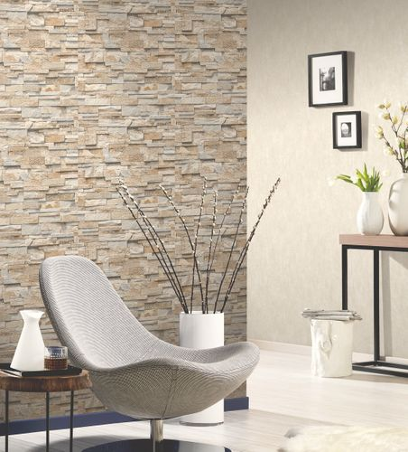 Wallpaper beige grey stone wall 3D PS 02363-10 online kaufen