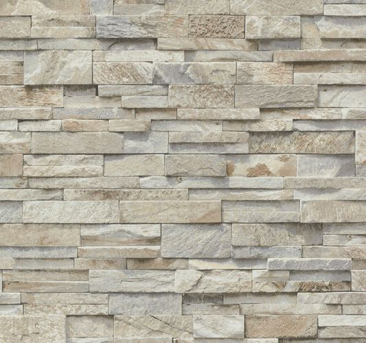 Wallpaper beige grey stone wall 3D PS 02363-10