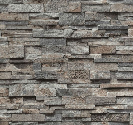 Wallpaper grey brown stone wall 3D PS 02363-20