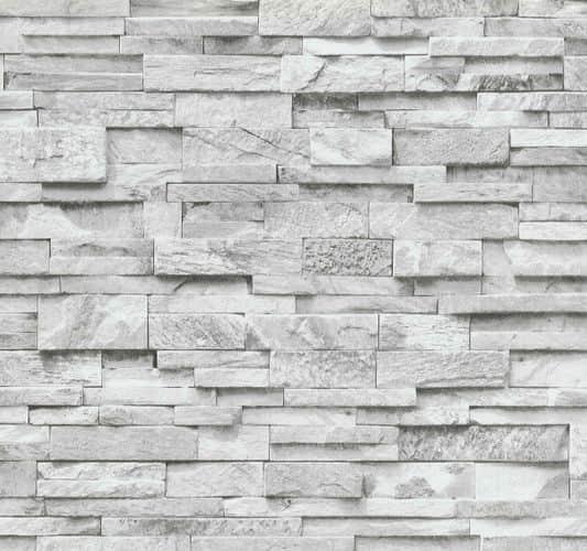 Vliestapete Stein 3D Optik grau weiß Mauer 02363-30