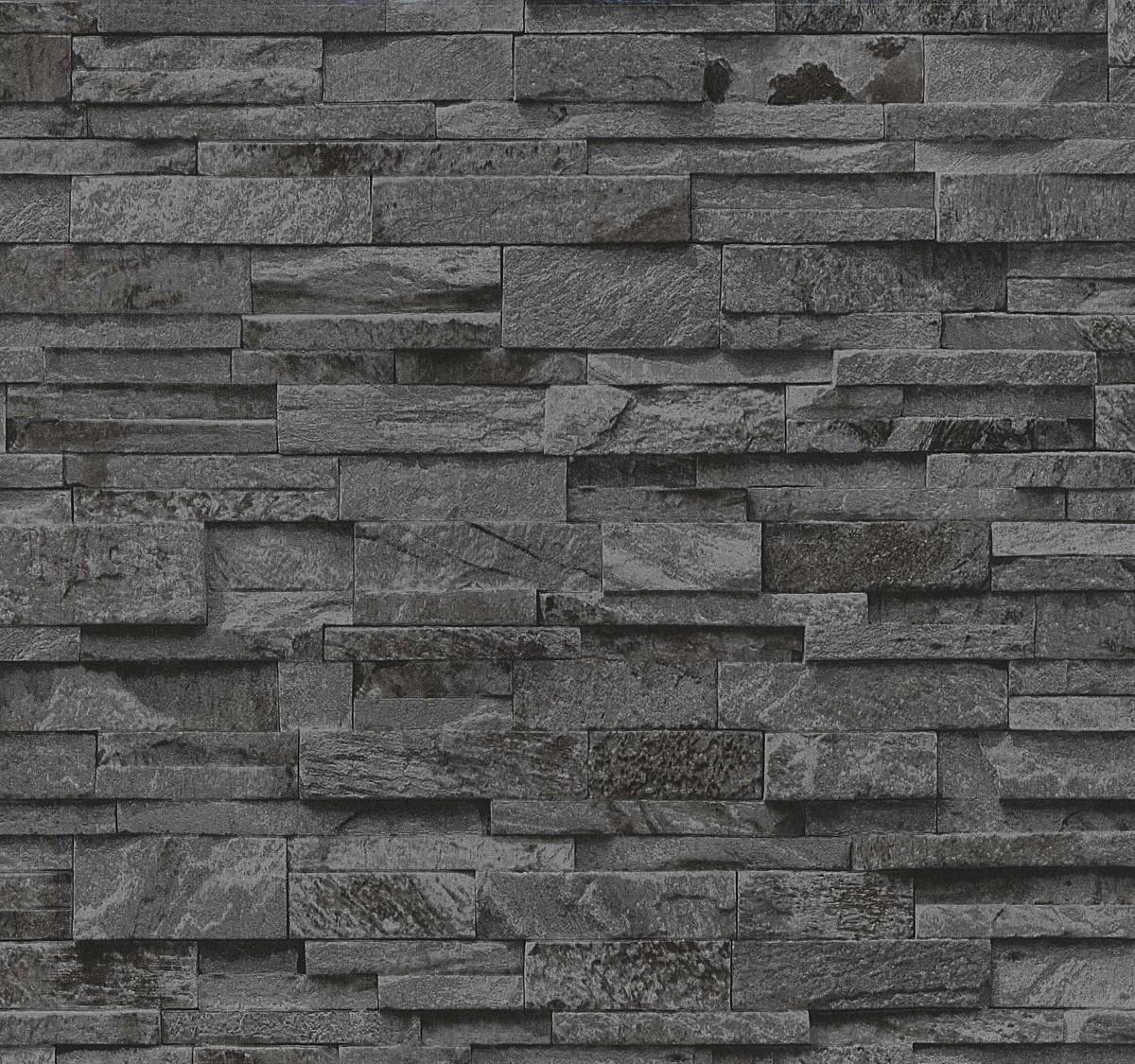 Vliestapete Stein 3D Optik Schwarz Grau Mauer P+S 02363 40 001