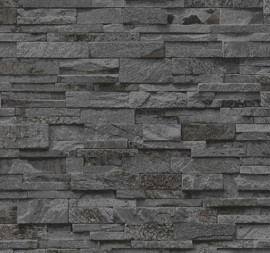 Wallpaper black grey stone wall 3D PS 02363-40