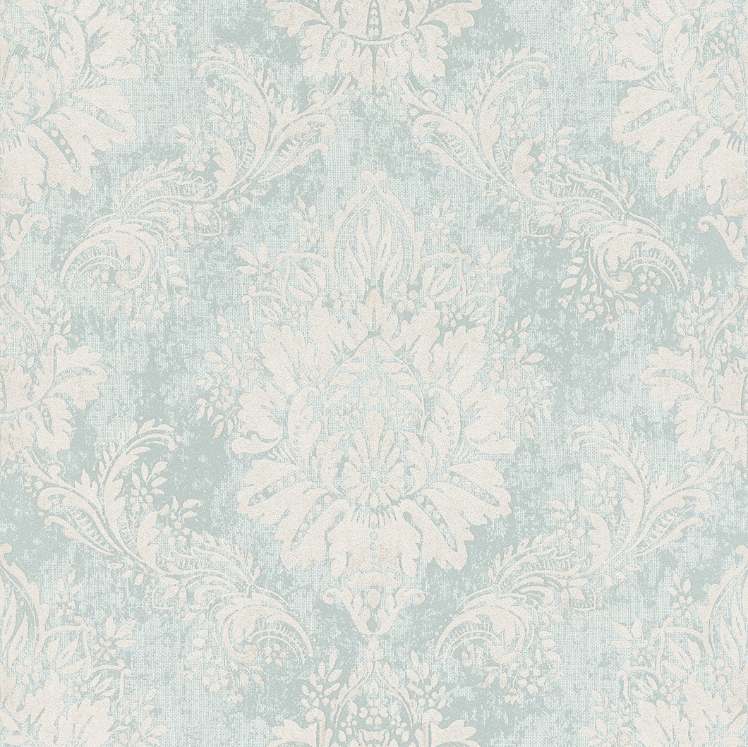 wallpaper baroque ornament pastel glossy turquoise 204810. Black Bedroom Furniture Sets. Home Design Ideas