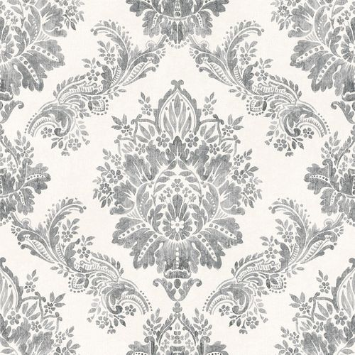 Wallpaper Baroque Ornament Pastel Glossy Grey 204834