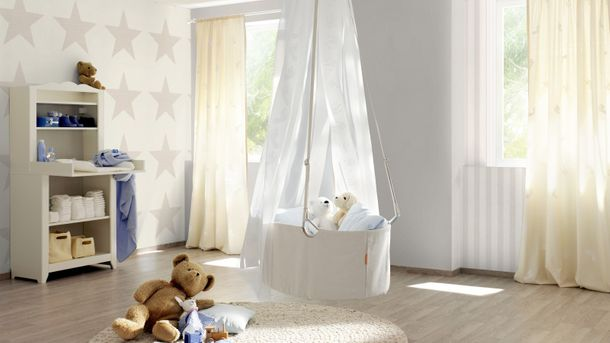 Kids wallpaper Bambino stripes cream-white beige 246001 online kaufen