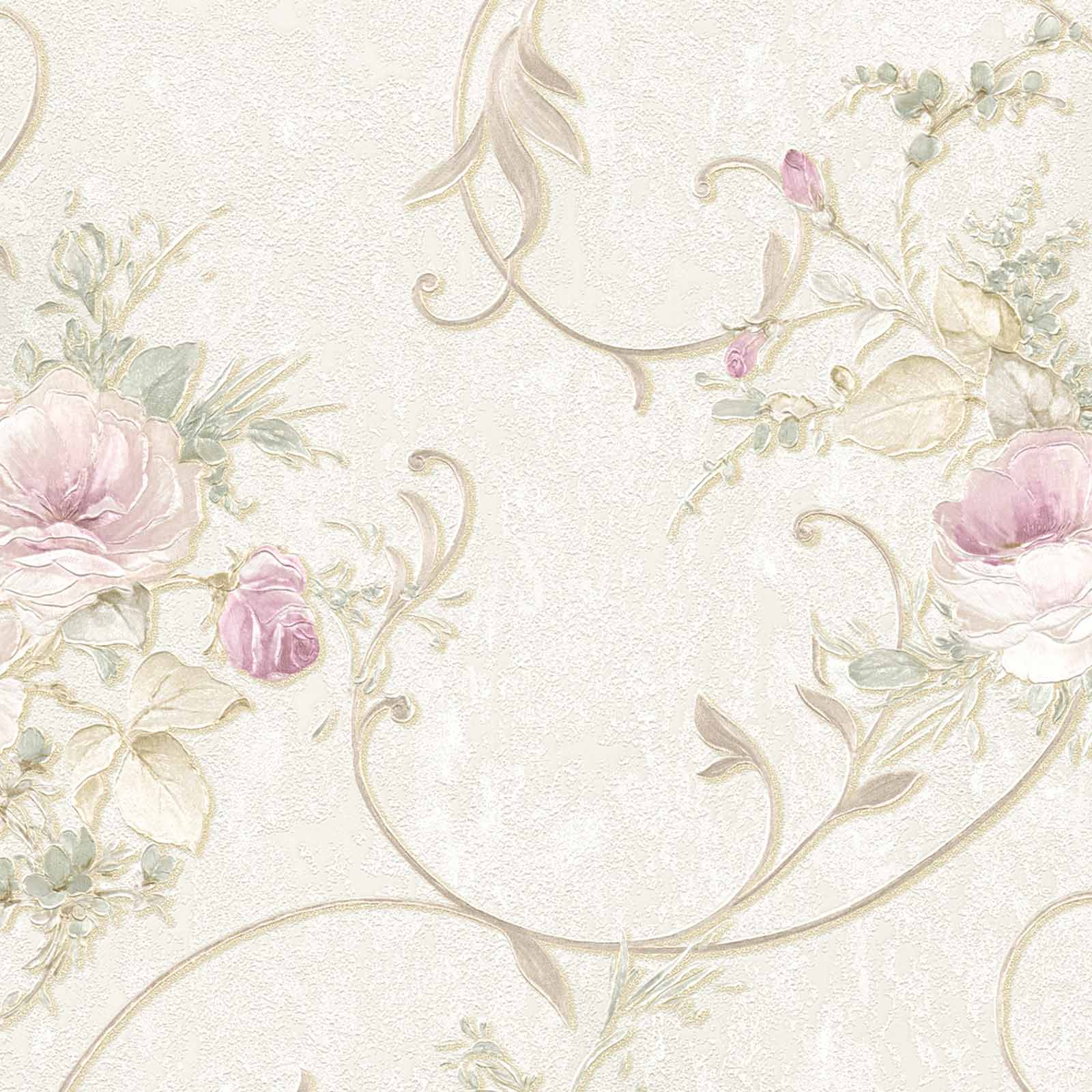 Non Woven Wallpaper Floral Baroque Beige Gold 30420 2