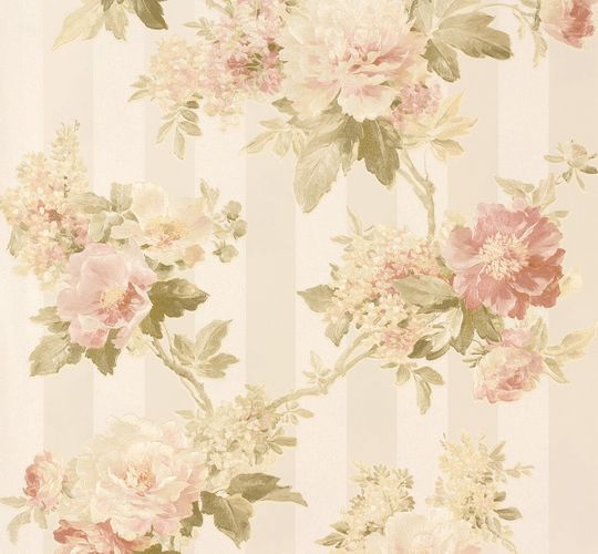 Non-woven wallpaper flowers on stripes cream-beige 30446-1 online kaufen