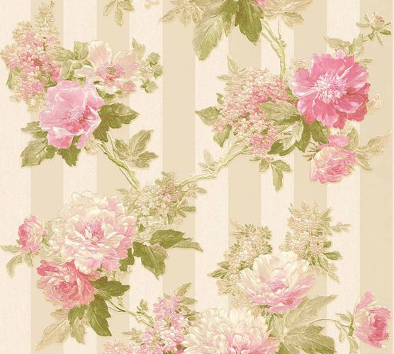 Non-woven wallpaper flowers on stripes cream green 30446-4 online kaufen
