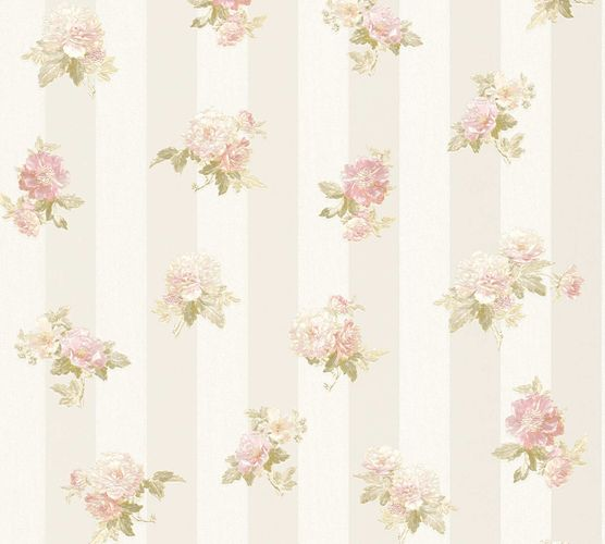 Non-woven wallpaper bloom on stripes cream-beige 30447-1 online kaufen