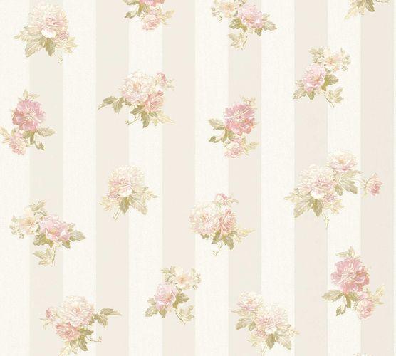 Vliestapete Blüten auf Streifen creme-beige grün 30447-1