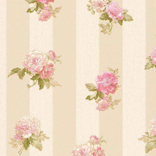Vliestapete Blüten auf Streifen creme grün rosa 30447-4