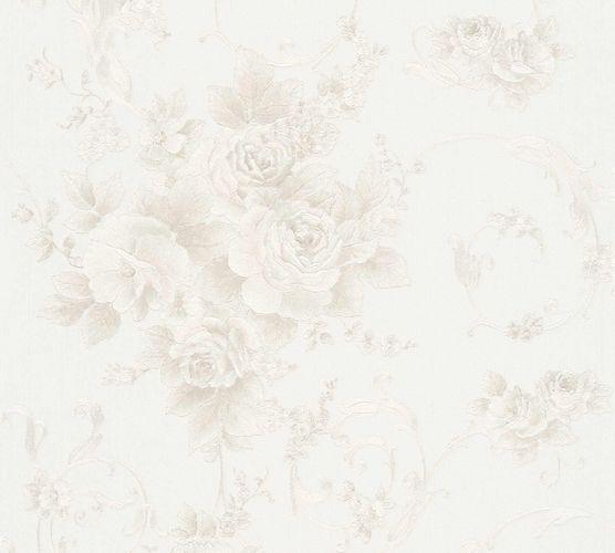 Non-woven wallpaper floral baroque cream glitter 30647-2