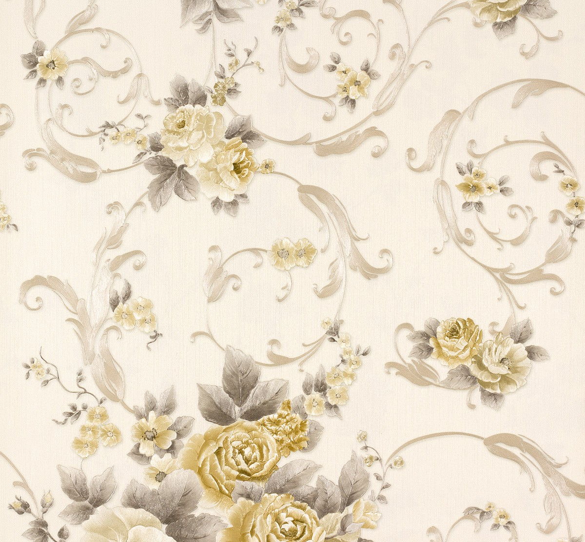 white and gold floral wallpaper - photo #20
