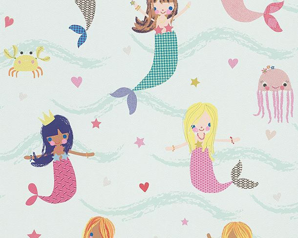 Kids Wallpaper Mermaid green colourful Metallic 30569-1