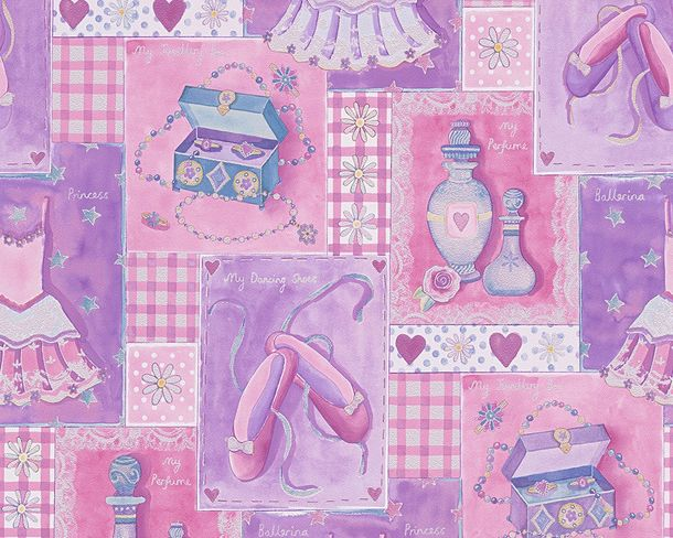 Kids Wallpaper Ballerina pink purple Metallic 30597-1