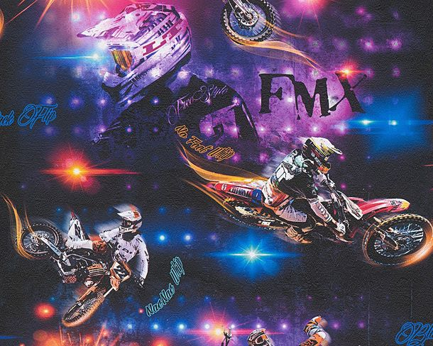 Kids Wallpaper Motorcross neon coloured black 30656-1