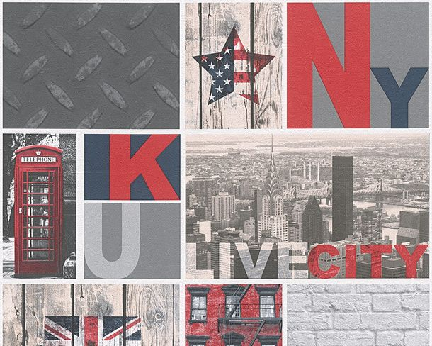 Kids Wallpaper New York Collage grey red 95596-1