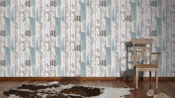 Kids wallpaper wood Boys & Girls white blue 95950-3 online kaufen