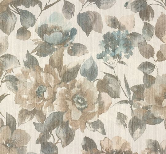 Non-woven wallpaper cream blue flowers Voyage Erismann 5956-19 online kaufen