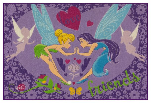 Kids carpet Disney Disney Tinkerbell purple girls play rug 95x133cm