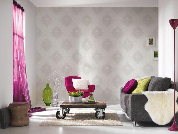 Wallpaper Bling Bling baroque glitter white 3139-11 online kaufen
