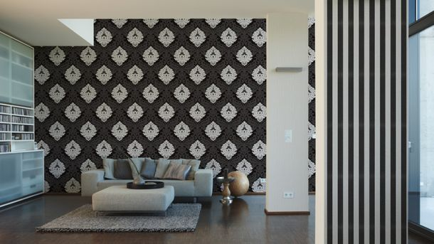 Wallpaper Bling Bling baroque glitter black 3139-59 online kaufen