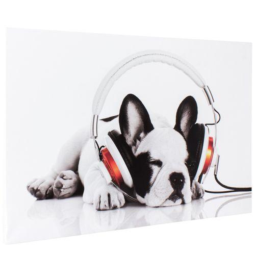Bild Keilrahmen Hund weiß schwarz 60x90cm online kaufen