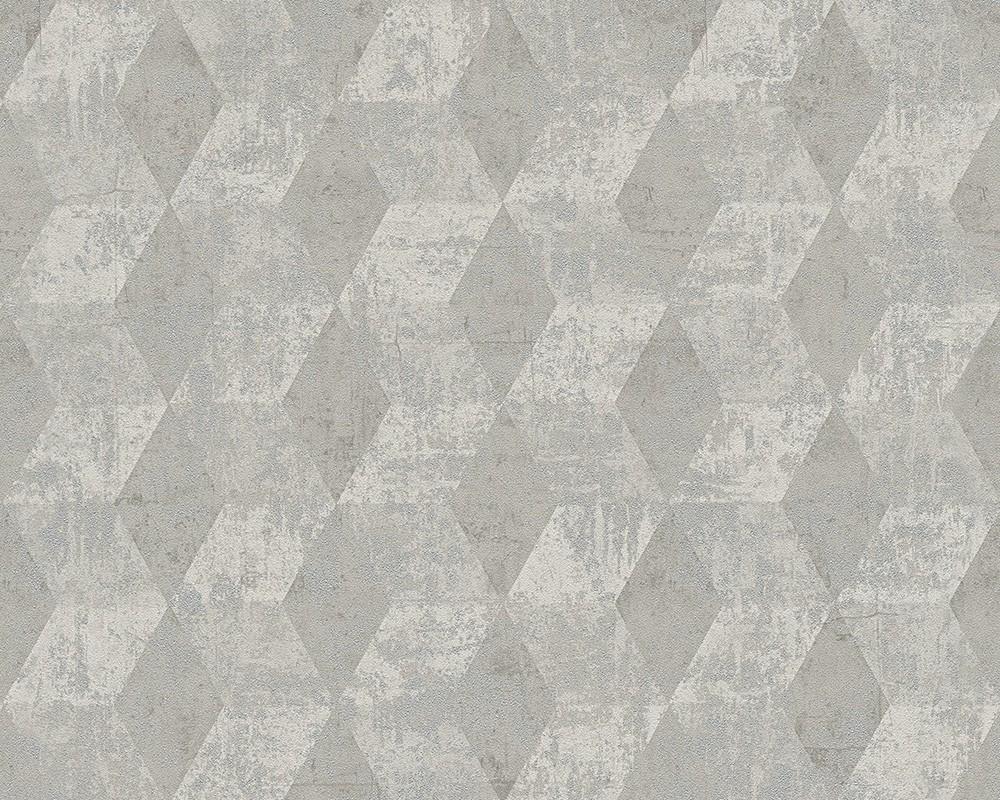 Vliestapete Raute 3d Optik Glanz Grau Livingwalls 30654 2