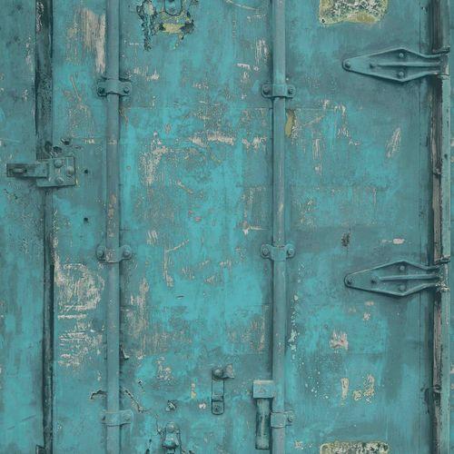 Wallpaper Grandeco vintage steel turquoise EW3201 online kaufen