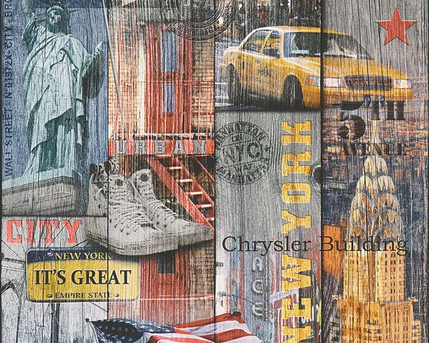 Wallpaper Lutèce USA New York colourful 30170-1