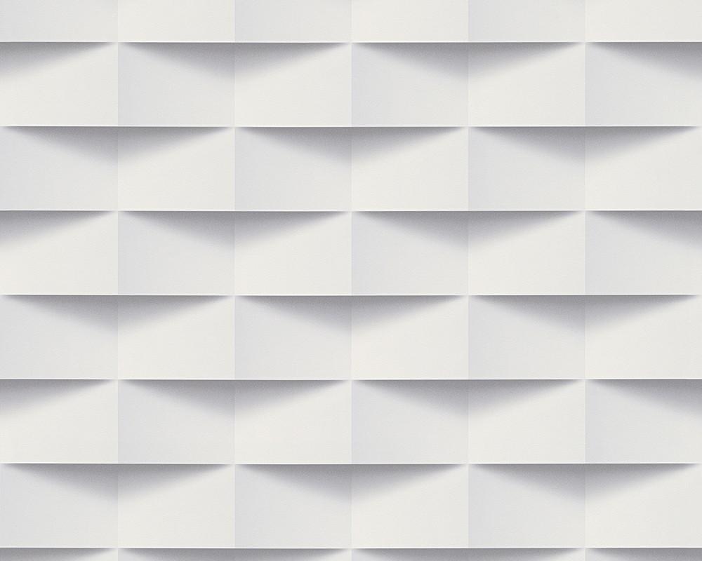 Vliestapeten 3d Rechtecke Grafik Weiß Grau 30248 1