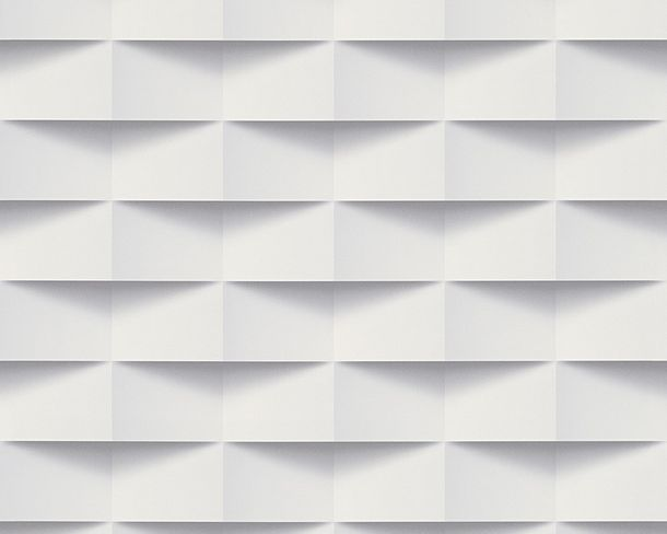 Non-Woven Wallpaper 3D rectangles white grey 30248-1 online kaufen