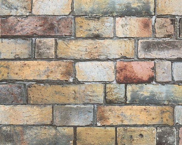 Non-Woven Wallpaper brick look orange grey 30256-1