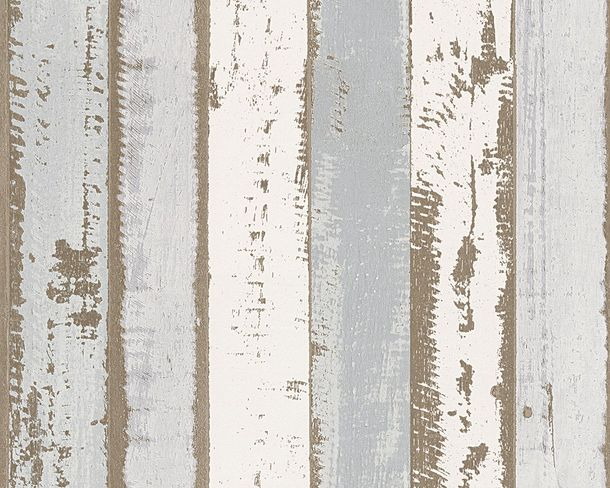 Wallpaper AS Creation wooden wall white grey 30258-1