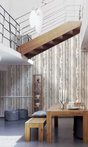 Non-Woven Wallpaper wooden wall used look blue 30258-1 online kaufen