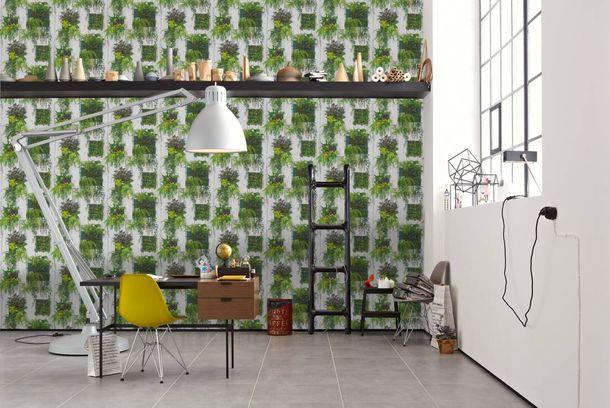 tapete holzbalken pflanze natur wei gr n t rkis 30413 1. Black Bedroom Furniture Sets. Home Design Ideas