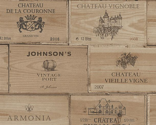 Non-Woven Wallpaper wine box vintage wood brown 30477-1