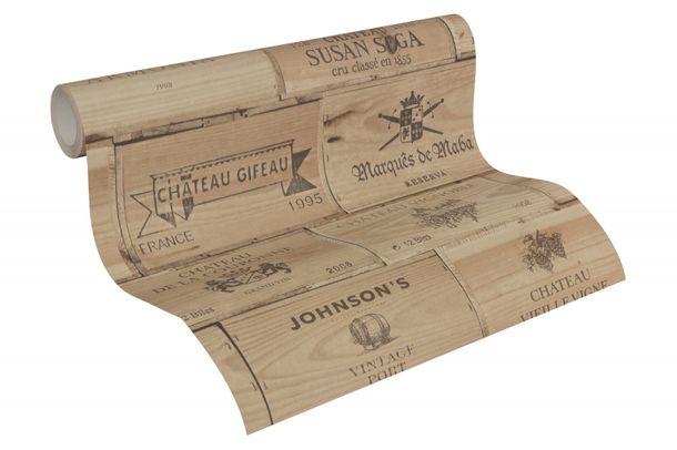 Non-Woven Wallpaper wine box vintage wood brown 30477-1 online kaufen
