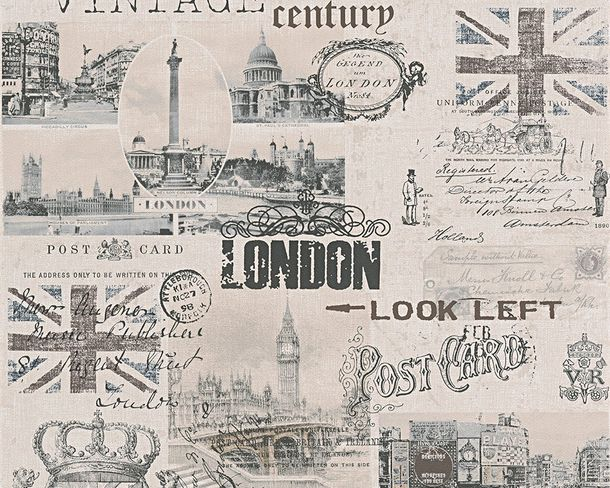 Wallpaper AS Creation London Vintage white black 95205-2 online kaufen