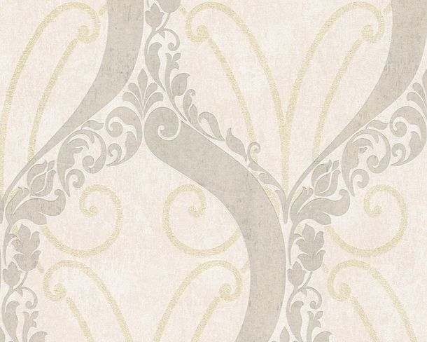 Wallpaper Lutece ornaments gloss glitter beige 305863